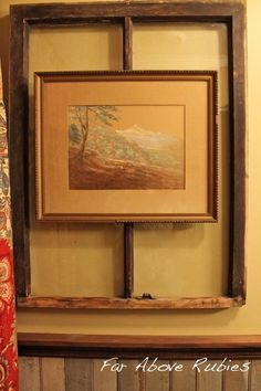 Art on top of a window frame in the bathroom...Far Above Rubies: Antique wood in the bath...