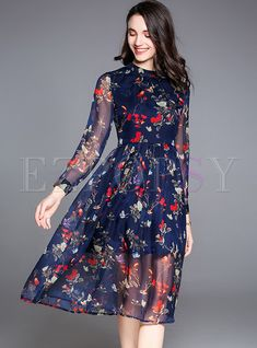 Shop for high quality Floral Print Perspective Slim Skater Dress online at cheap prices and discover fashion at Ezpopsy.com