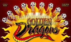 Golden Dragons soccer banner idea from AllStarBanners.com We do soccer banners, baseball banners, softball banners, football banners and team banners for any sport.