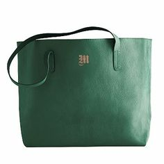 Everyday Leather Tote #makeyourmark Give her a monogrammed tote! Emerald is a great color for the season!