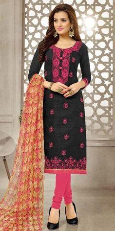 Zealous Black Cotton Straight Suit With Dupatta.
