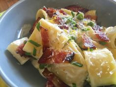 Mezzi Paccheri with Spring Peas & Candied Bacon – Food for a Year: