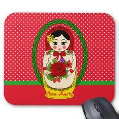 Matryoshka Babushka Russian Doll Dots Mousepad