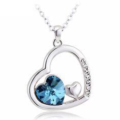 Heart jewelry Swarovski blue crystals wedding necklace