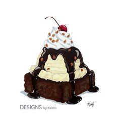 Brownie Ice Cream Sundae Dessert 5x7 Print by TheDesignsbyKaitlin