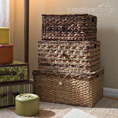 Hand Woven Bankaun Lidded Trunks, Decorative Storage ★ Creative Co-Op Home