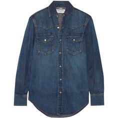 Saint Laurent Classic denim shirt (2.100 BRL) ❤ liked on Polyvore featuring tops, mid denim, slim fit western shirt, denim snap shirt, cowgirl shirts, western shirts and stitch shirt