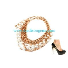 Multilayer Drop Pearl Ankle/Heel Chain $20 at www.madisongems.com       We ship Worldwide and we accept PayPal