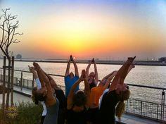 #yogastory Day 11: In Abu Dhabi, everyone gathers at sundown for backbend fun.  Bend with us: www.evolationyoga.com/teach  #yoga #love #hotyoga #learn #yogateachertraining #abudhabi