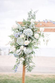 Blue Hydrangea Wedding, Beach Wedding Flowers, Floral Wedding, Wedding Colors, Thistle Wedding, Wedding Blue, Wedding Art, Wedding Poses, Dream Wedding