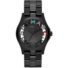 Henry Skeleton Crystal Watch, Black (11,190 PHP) found on Polyvore