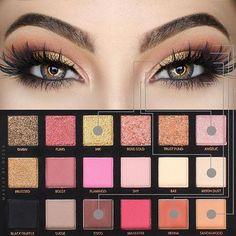 Huda rose gold palette look rose gold eye make up, Huda Beauty Rose Gold Palette, Huda Beauty Eyeshadow, Huda Beauty Makeup, Rose Gold Makeup, Beauty Make-up, Lip Makeup, Huda Palette, Eyeshadow Palette, Make Up Palette