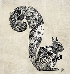 zentangle | zentangle Squirrel by ~somethinkindepth on deviantART