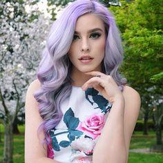 long wavy pastel purple hair