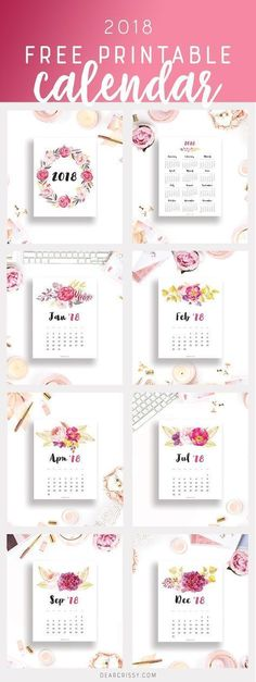 Free Printable 2018 Calendar - This beautiful floral printable calendar will help you plan and organize your new year in gorgeous style. 2018 Planner, Free Planner, Planner Pages, Happy Planner, College Planner, College Tips, Weekly Planner, Free Printable Calendar, Printable Planner