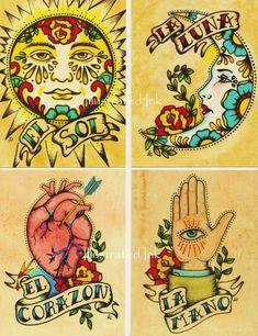 Folk art postcards mexican loteria tattoo art - set of 8 designs. Arte Latina, Mexican Art Tattoos, Indian Tattoos, Loteria Cards, Frida Art, Muster Tattoos, Kunst Tattoos, Chicano Tattoos, Virgen De Guadalupe