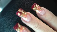 my Autumn nails .... sparkles of gold & ruby