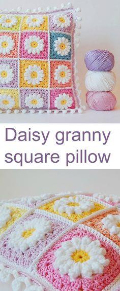 Daisy granny square pillow (Dada\'s place) | Häkeln, Kissen und Häckeln