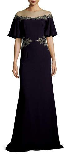 David Meister Illusion Off-the-Shoulder Column Evening Gown w/ Beaded Embellishments