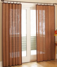 Banded Bamboo panels, shown from Country Curtains, have a wonderful texture along with light filtration and privacy. Custom Drapes, Curtains, Sliding Glass Door Curtains, Bamboo Curtains, Patio Door Coverings, Country Curtains, Sliding Glass Door, Sliding Door Curtains, Contemporary Curtains