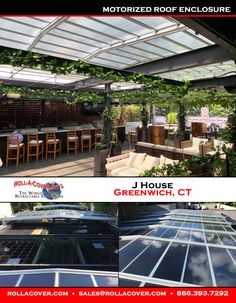 The J House Hotel in Greenwich, CT, now features a Roll-A-Cover retractable roof on its outdoor patio! With just the push of the button, the glass roof closes in seconds when the weather turns. This allows for year-round use of this beautiful outdoor space!