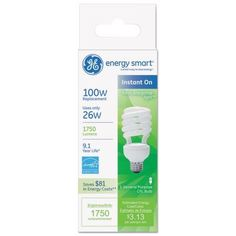 GE Energy Smart Compact Fluorescent Spiral Light Bulb, 26 Watts, Soft White, Pack of 10