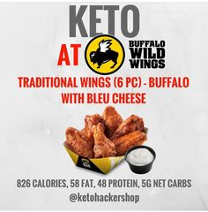 KETO AT BUFFALO WILD WINGS So you're headed to Buffalo Wild Wings but want to order something to keep it keto? ORDER Traditional Wings Pc) - Buffalo with blue cheese 826 calories, 58 fat, Ketogenic Recipes, Ketogenic Diet, Low Carb Recipes, Diet Recipes, Ketosis Diet, Healthy Recipes, Keto Fastfood, Video Series, Keto Regime