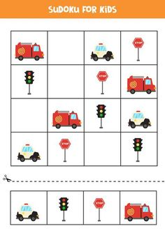 Sudoku For Preschool Kids. Logical Game With Transport.