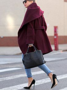To find out about the Burgundy Long Sleeve Pockets Coat at SHEIN, part of our latest Outerwear ready to shop online today! Nyc Fashion, Winter Fashion, Womens Fashion, Fashion Trends, Cheap Fashion, Essentiels Mode, Pretty Outfits, Cute Outfits, Fashion Design Classes