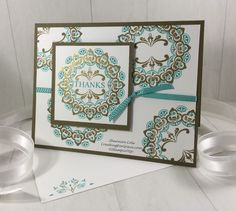 Stampin'Up! Make A Medallion Sale A Bration cardMy Stampin'Up! Make A Medallion Sale A Bration card has some definite bling going on in the focal point! However, the background medallions are not heat embossed. They are stamped in Soft Suede ink… Surprise! I...