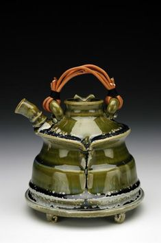 """Fong Choo   Teapot with what Choo calls his """"Crystal Celadon"""" glaze, which is a layered combination of commercial glazes (Amaco Textured Alligator, LT Series and LT 122 Dark Blue)"""