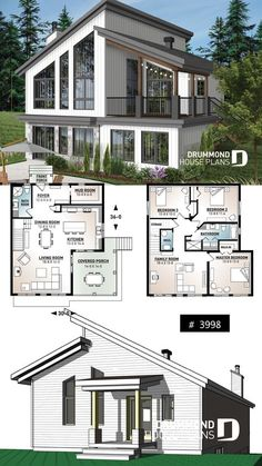 Ski chalet house plan – inverted living and panoramic view Ski or mountain cottage plan with walkout basement, large covered deck, 3 beds, 2 bathrooms, open concept Sims House Plans, Basement House Plans, House Plans One Story, Dream House Plans, Modern House Plans, Small House Plans, Modern House Design, Walkout Basement, Cabin Floor Plans