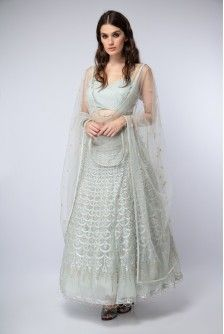 29bd412a19 Payal Singhal New Arrivals Collection : POWDER BLUE EMBROIDERED CHOLI WITH  LEHENGA AND DUPATTA Saree,