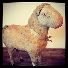 My antique show find this weekend - an 1890s German putz sheep with a very unique face.