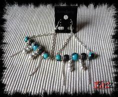 Triangular earrings made of gemstone beads http://www.alittlemarket.com/boucles-d-oreille/fr_boucles_d_oreilles_forme_triangle_turquoise_noires_et_argentees_en_pierres_veritables_-15115021.html https://www.facebook.com/pages/Des-Noeuds-et-des-Pierres/598136326891842