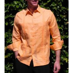 Guayabera 4 pocktes orange