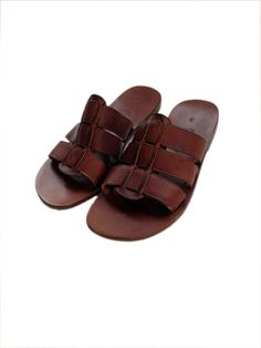 ADONIS: Three Strap Leather Slide Handmade leather sandals
