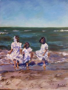 """11"""" x 14' oil on masonite.Nostalgic piece of three little girls dancing and playing on the beach."""