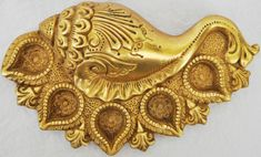 Beautifully Carved Brass Oil Lamp in Conch Shape Decorative Metal Arti Diya | eBay
