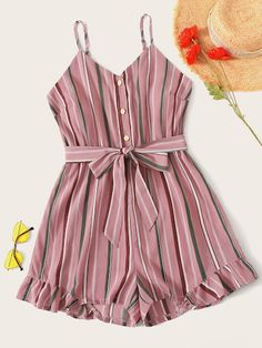 To find out about the Plus Striped Button Front Belted Cami Playsuit at SHEIN, part of our latest Plus Size Jumpsuits ready to shop online today! Big Girl Fashion, Summer Fashion Outfits, Fast Fashion, Curvy Fashion, Look Fashion, Plus Size Fashion, Womens Fashion, Fashion Trends, Fashion Black
