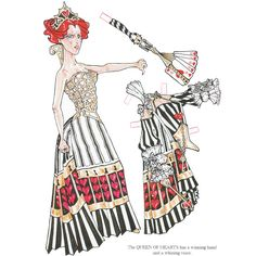 Alice In Wonderland Paper Dolls by Charlotte Whatley - The Queen of Hearts's fan