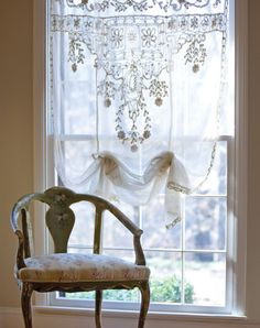 "❤️This is what I want to do for the window in my stairwell.❤️au-chalet: "" http://www.victoriamag.com/inspired-style-sheer-luxury-antique-lace/ """