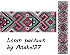 Loom pattern, beading pattern #18, bead loom pattern, square stitch pattern, loom bracelet , loom cuff pattern loom beading pattern…