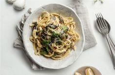 Garlicky Mushroom Fettuccine
