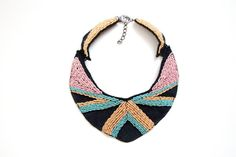 African Statement necklace/ Bead leather por RasaVilJewelry en Etsy