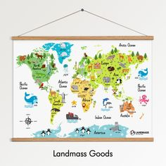 18x24 Kids Animal World Map Poster Print - Frame Included - Educational - Continents - Children's Nursery Bedroom Decor - Colorful - Fun