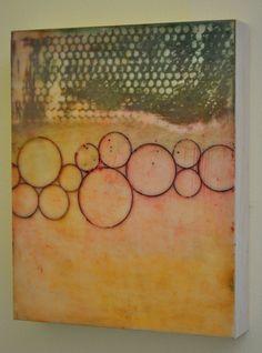 Floating Circles  Original Encaustic Painting by encausticalchemy, $45.00