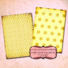 SHABBY YELLOW COLLAGE sheet, 8 designs, supplies for scrapbooking collage digital download $3.50
