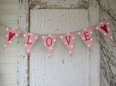 Valentines Day Heart Burlap Banner by funkyshique on Etsy
