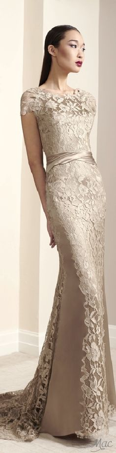 This is an evening dress from Peter Langner but would look good as a wedding dress, with an embroidered veil and silk shoes